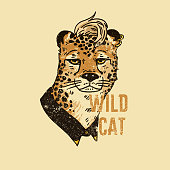 Leopard with hair with slogan. Wild cat. For print, baby clothes, t shirt, child or wrapping paper. Kids apparel