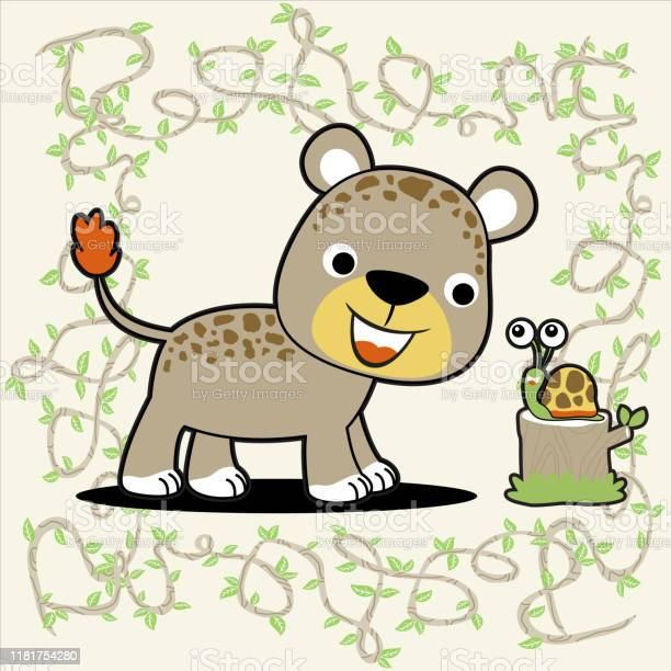 Leopard with little snail on vines background vector cartoon vector id1181754280?b=1&k=6&m=1181754280&s=612x612&h=41ogr82a e 91 40o1mx7jz8fnkpgyhqlm1f1cbrm38=