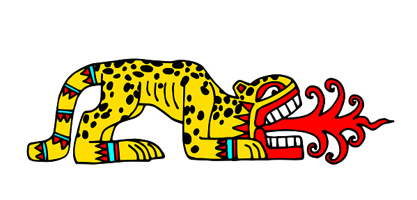 leopard with red flames, aztec sacred animal, indian traditional pattern
