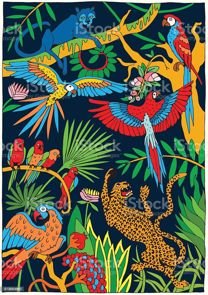 Leopards and Parrots in the Jungle vector art illustration