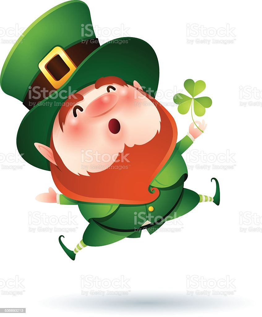 Leprechaun and clover vector art illustration
