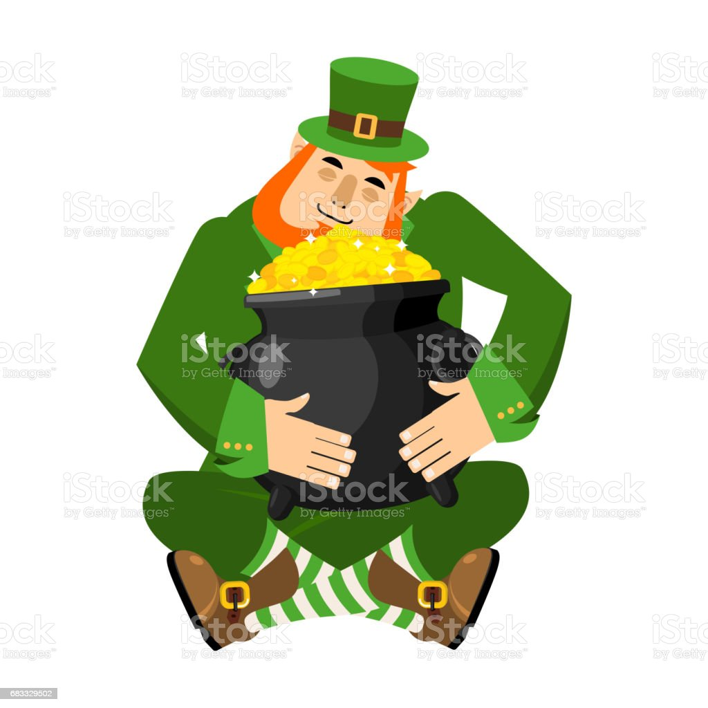 Leprechaun and pot of gold. My precious. St.Patrick's Day leprechaun and pot of gold my precious stpatricks day - immagini vettoriali stock e altre immagini di barba - peluria del viso royalty-free