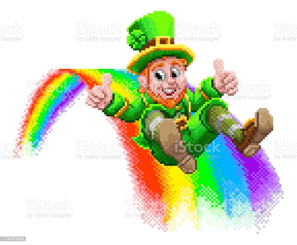 A leprechaun St Patrick s day cartoon character sliding down a...