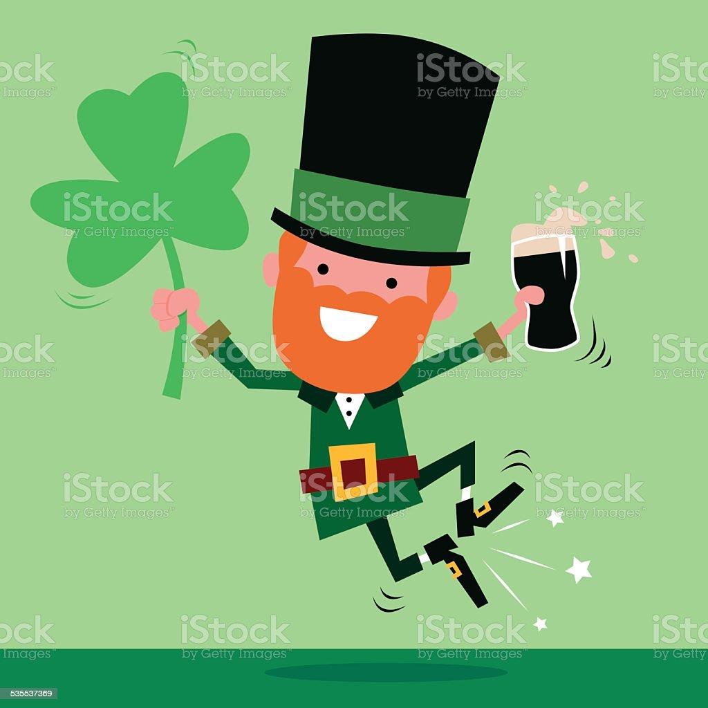 Leprechaun Celebrating St Patrick's Day vector art illustration