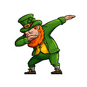 Funny Cartoon Leprechaun Doing the Famous Dab Move.