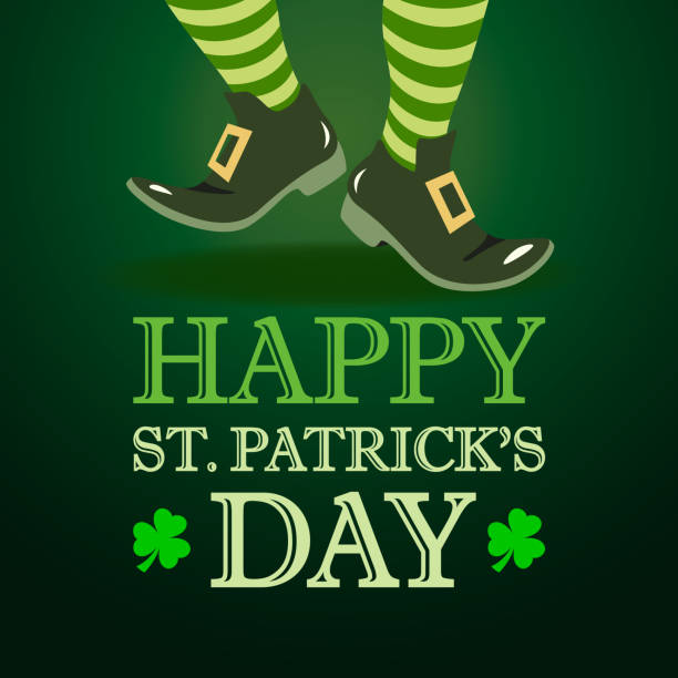 Leprechaun Dancing on St. Patrick's Day vector art illustration