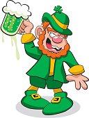 Leprechaun Drunk on Green Beer