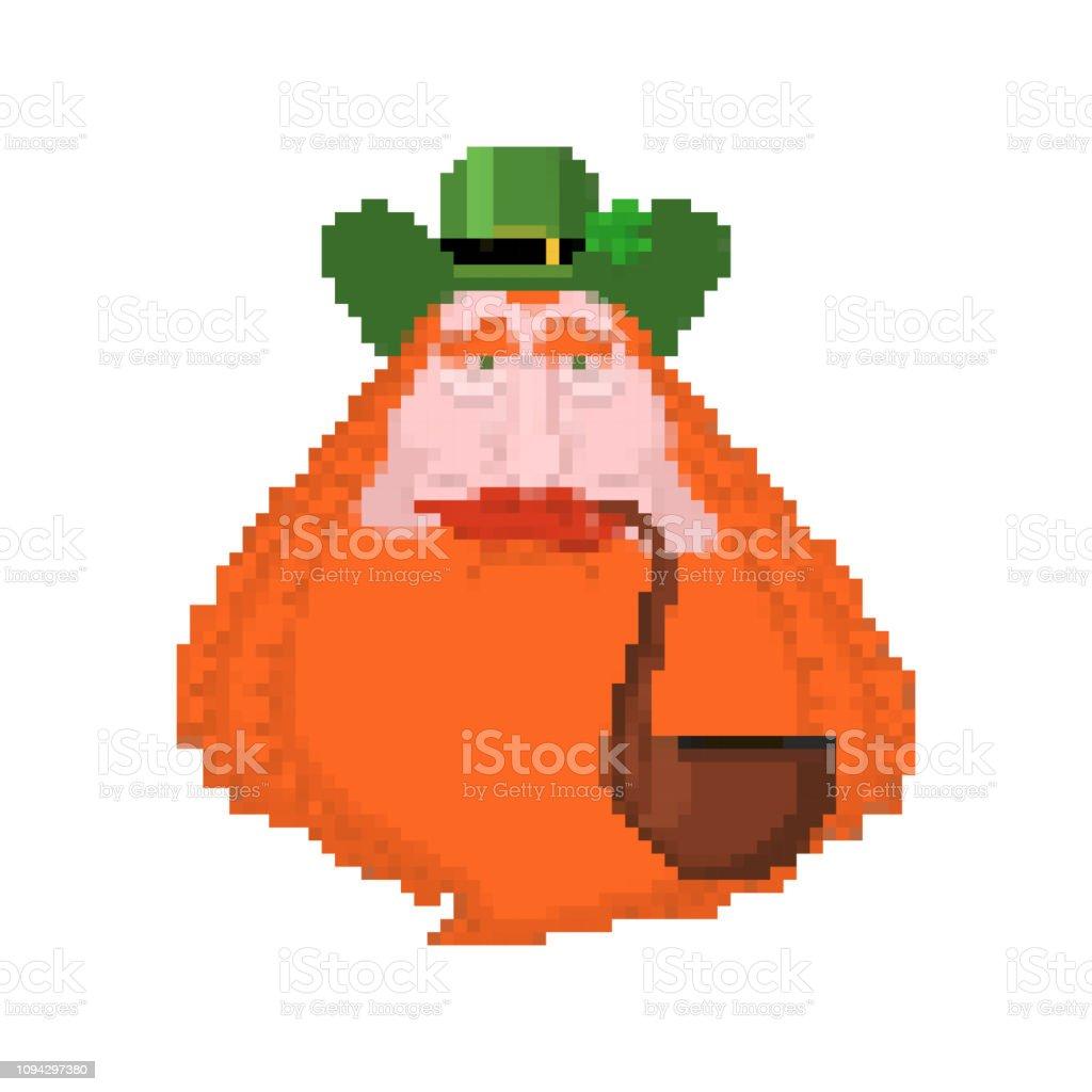 レプラコーンの顔ドット絵。8 ビット。 休日アイルランドの。聖パトリックの日。伝統的なアイルランドの祝日 ベクターアートイラスト