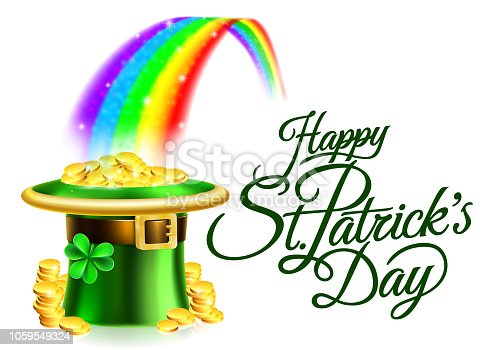A Happy St Patricks Day background sign with leprechauns green shamrock clover hat full of gold coins at the end of a rainbow