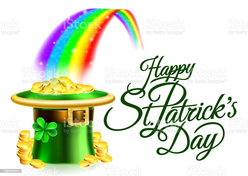 Leprechaun Hat Rainbow Happy St Patricks Day Sign vector art illustration
