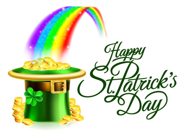 leprechaun hat rainbow happy st patricks day sign - st patricks day stock illustrations