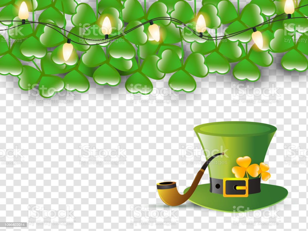 Leprechaun Hat With Smoking Pipe On Transparent Background
