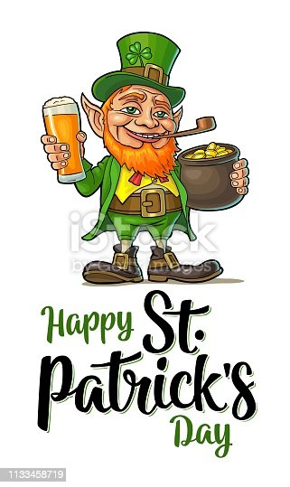 Leprechaun holding beer glass and pot of gold coins. Happy Saint Patrick's Day calligraphy handwriting lettering. Vector color illustration. Isolated on white background