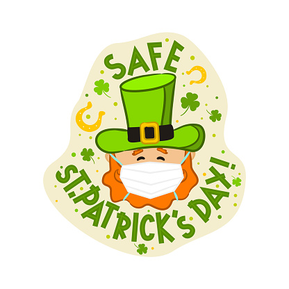 Leprechaun in protective medical mask. Safe St Patrick's Day