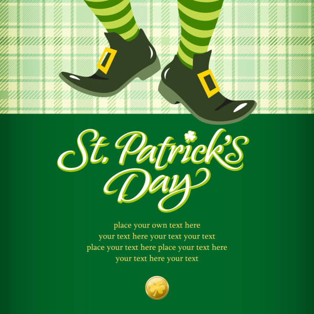 stockillustraties, clipart, cartoons en iconen met leprechaun invitation - westers schrift