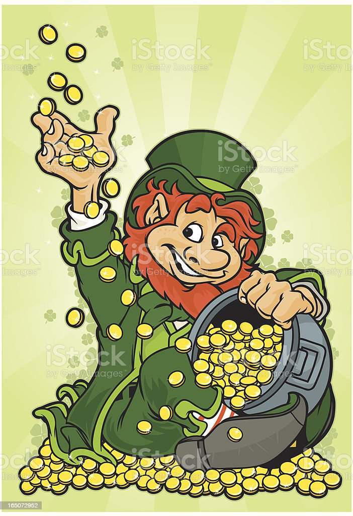 Leprechaun playing with gold coins royalty-free stock vector art