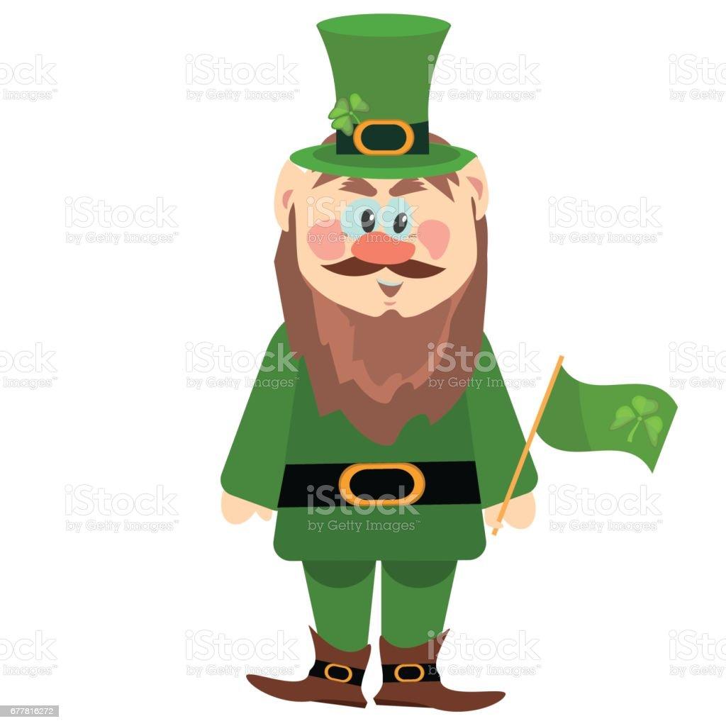 leprechaun presenting holiday little green man vector character