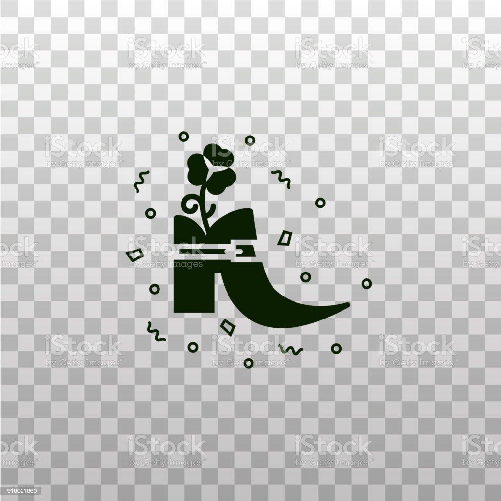 Leprechaun Shoe Black Silhouette Icon On Isolated Transparent