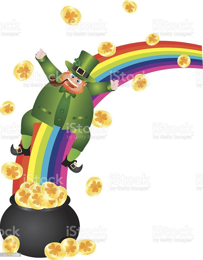 Leprechaun Sliding Down Rainbow Vector Illustration royalty-free stock vector art