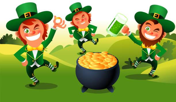 Leprechaun-Kobold St Patricks Dance – Vektorgrafik