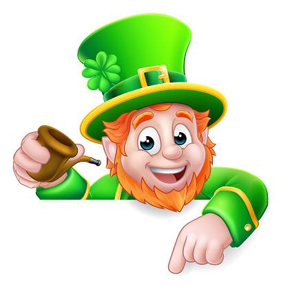 Leprechaun St Patricks Day Cartoon Character Sign