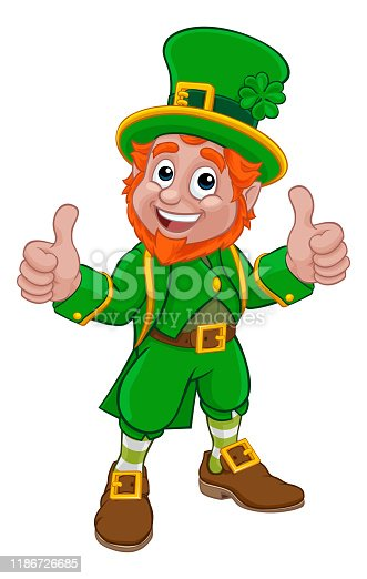 A Leprechaun St Patricks Day Irish cartoon character pointing and doing a double thumbs up