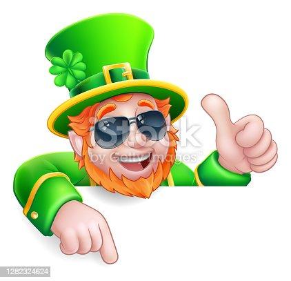 istock Leprechaun St Patricks Day Cool Cartoon Character 1282324624