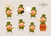 Leprechaun, Vector Illustration, St. Patrick's Day, Isolated Objects for Design, Vector Illustration, Set of Characters 1