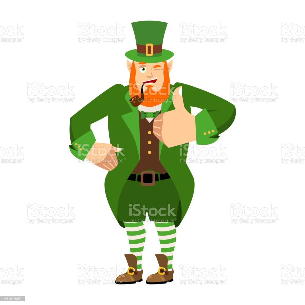 c2d67e5fd9bf6 Dwarf with red beard thumbs up. Happy St.Patrick  s Day. Irish elf  emotions. Holiday in Ireland - Illustration .