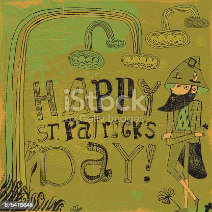 Vector illustration of hand drawn leprechaun wishing happy St Patricks day
