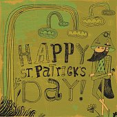 Leprechaun wishing happy St Patricks day