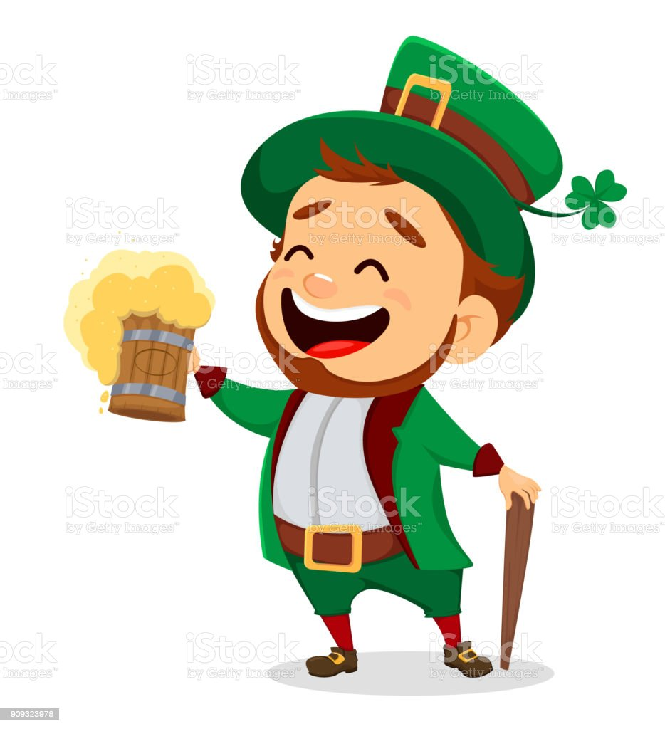 Leprechaun with a pint of beer vector art illustration