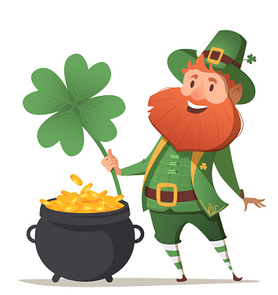 Leprechaun with a pot of gold and four leaf clover