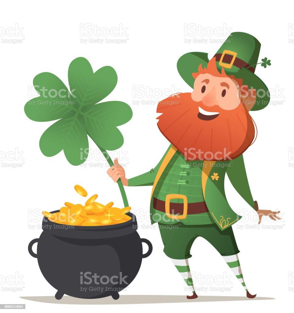 Leprechaun with a pot of gold and four leaf clover vector art illustration