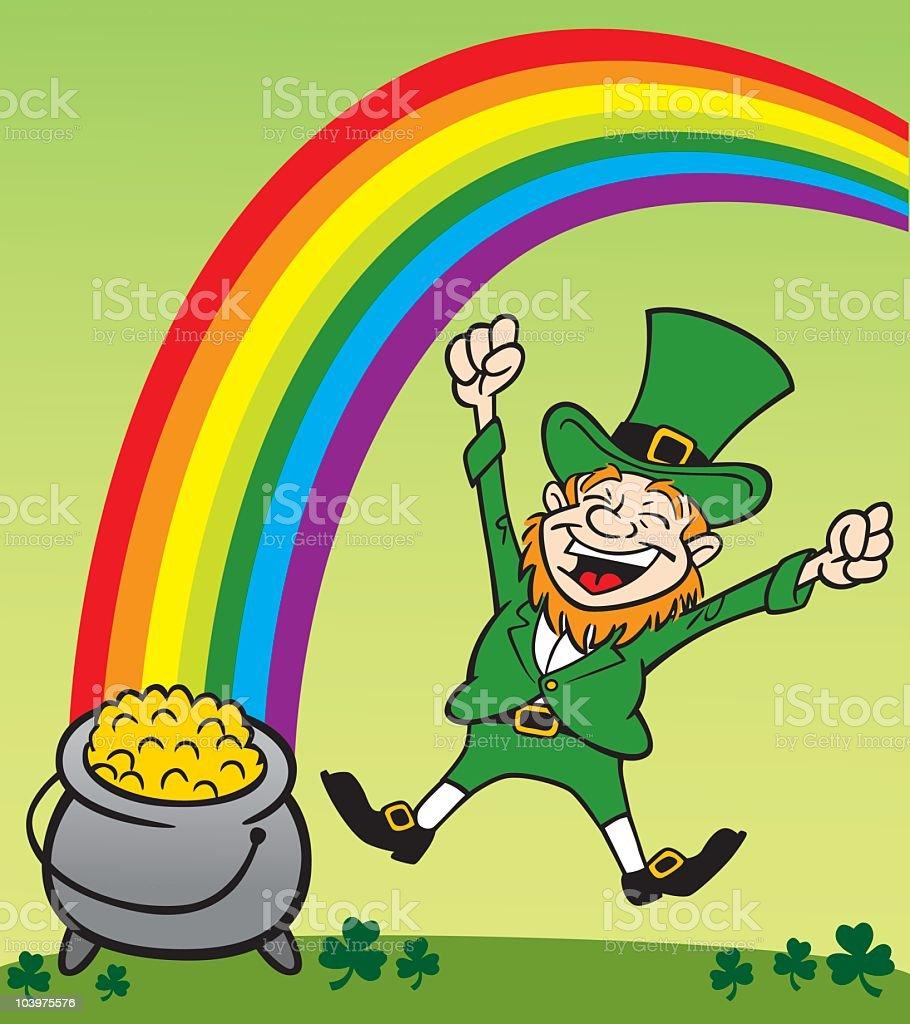 leprechaun with a pot of gold stock vector art 103975576 istock