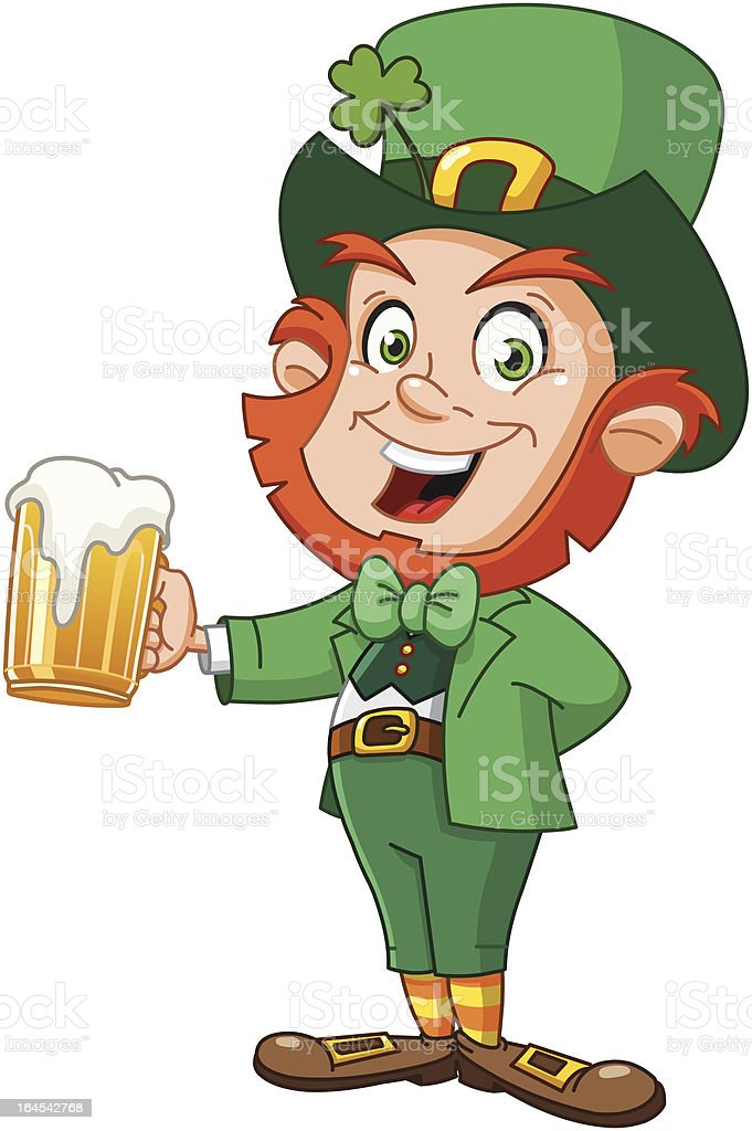 Leprechaun with beer vector art illustration