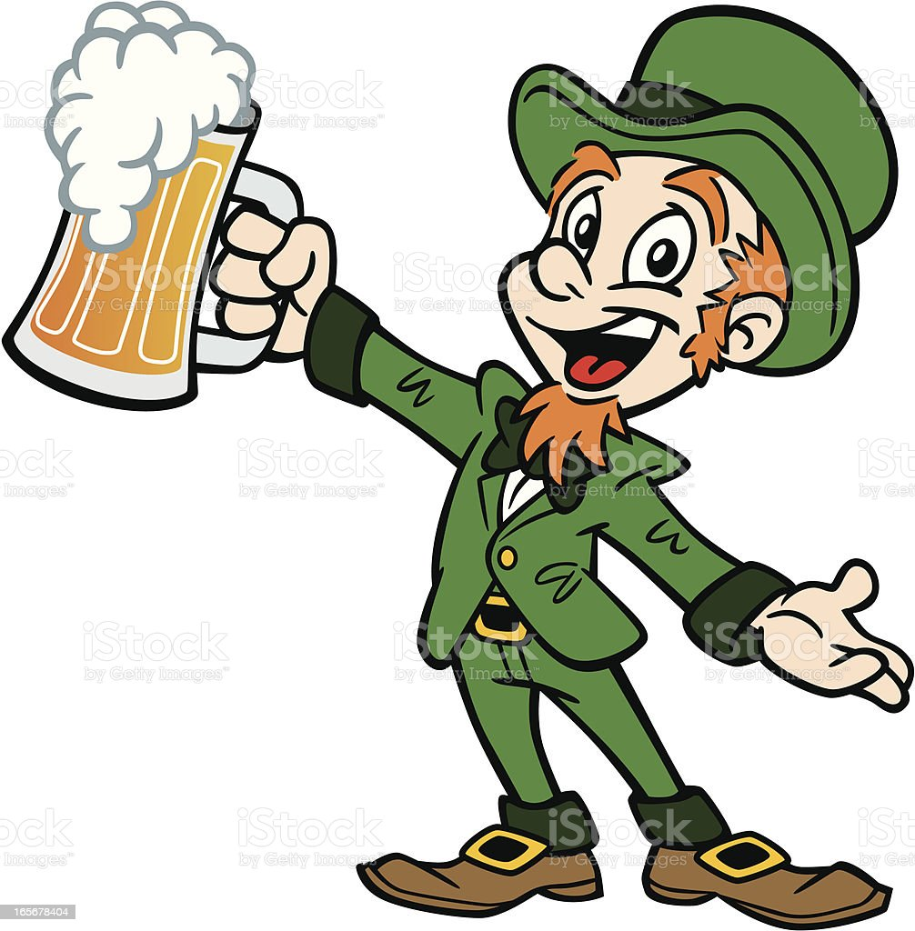 Leprechaun With Beer vector art illustration