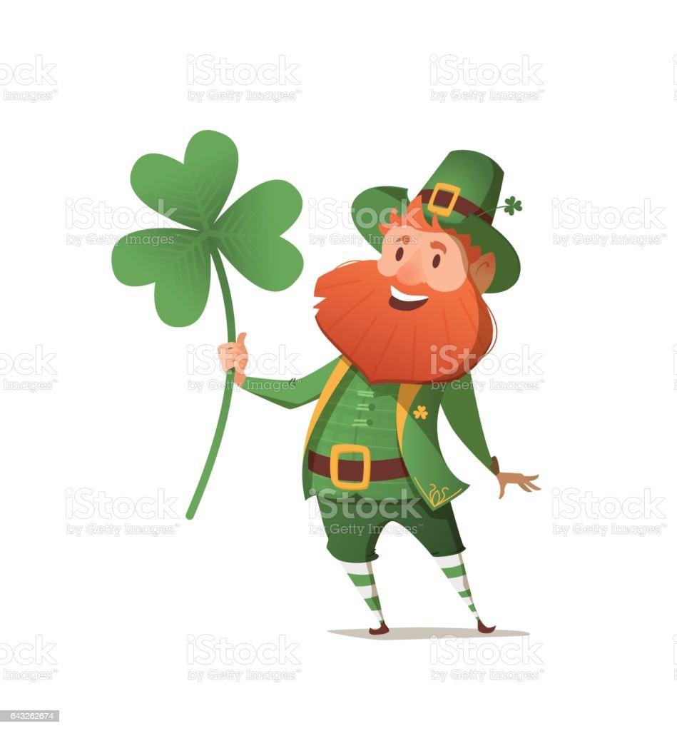 Leprechaun with clover for good luck. vector art illustration