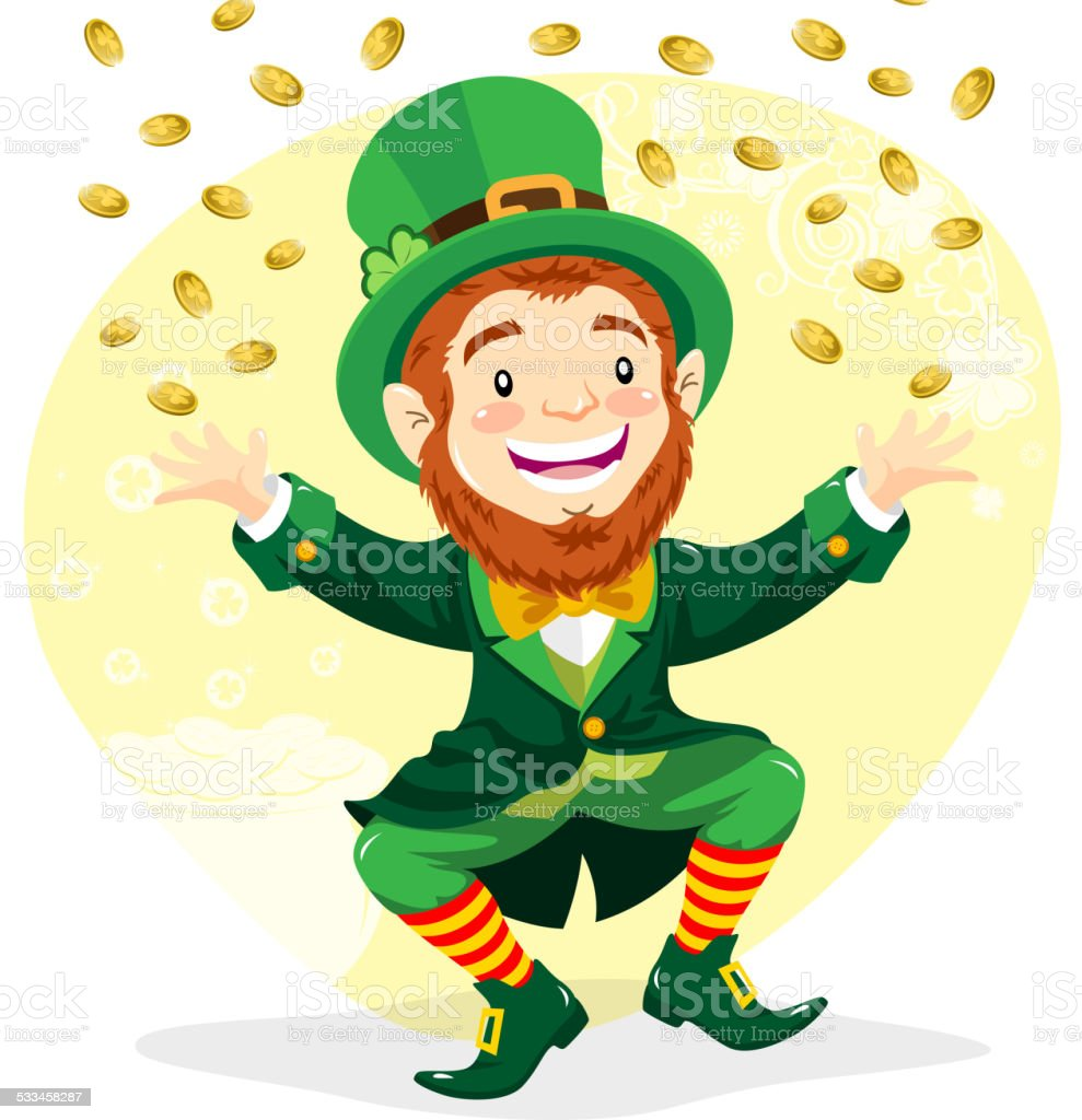 leprechaun with gold coins stock vector art 533458287 istock