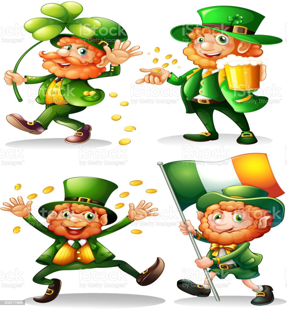 Leprechaun with green leaves and gold vector art illustration