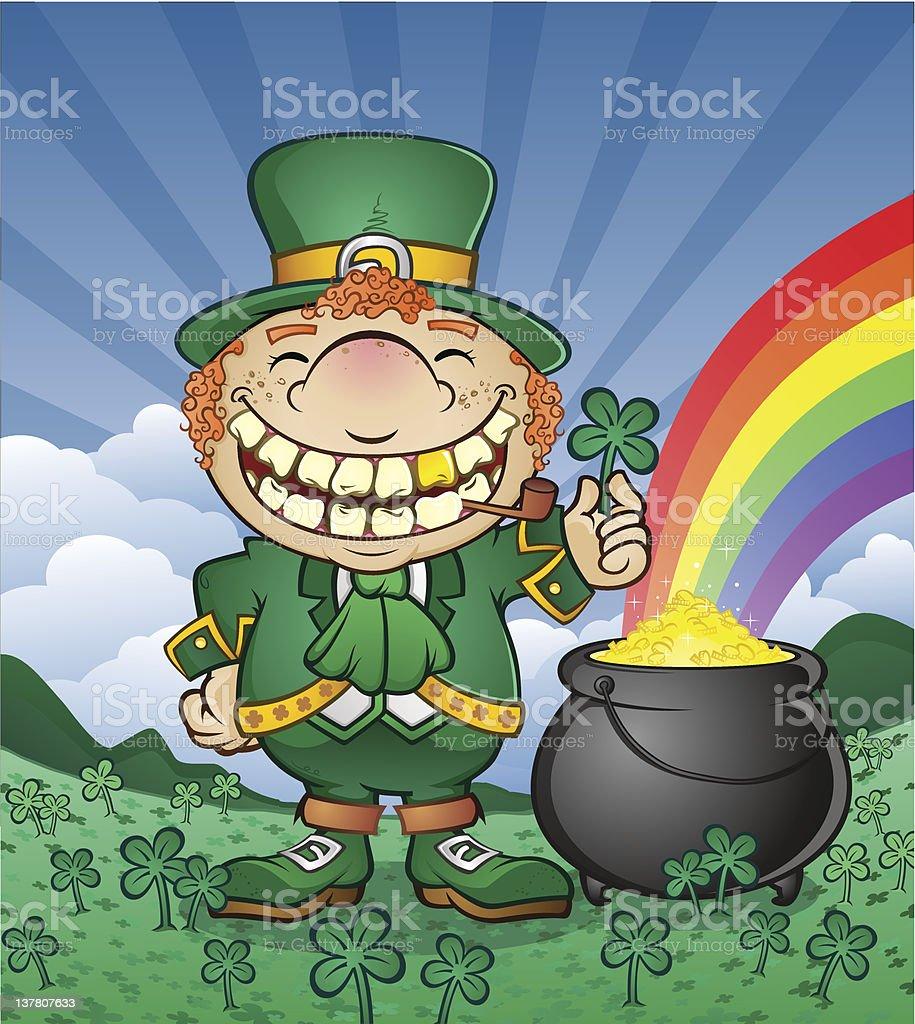 Ilustración de Duende Irlandés Con Olla De Oro Y Rainbow y más banco ...