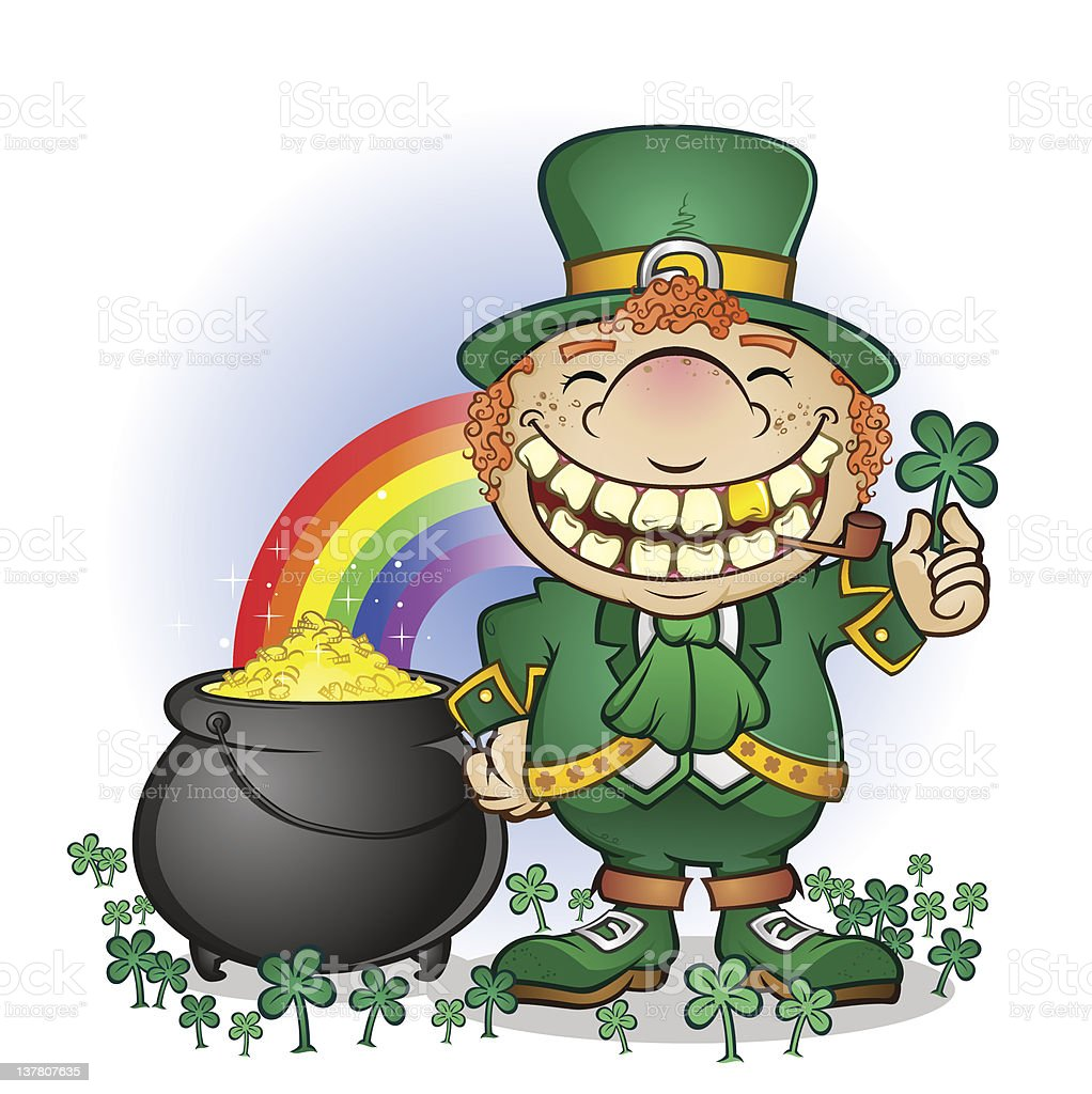 leprechaun with pot of gold on white stock vector art 137807635
