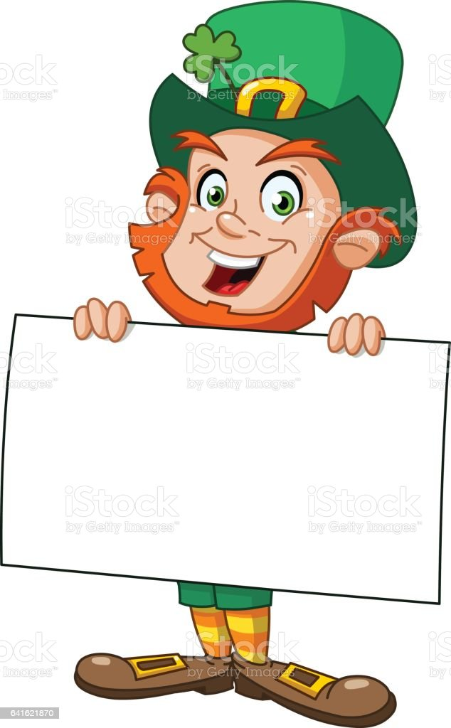 Leprechaun with sign vector art illustration