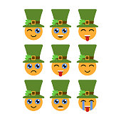 Leprechauns. Emoticons or emojis. Characters for St. Patricks day. Vector illustration
