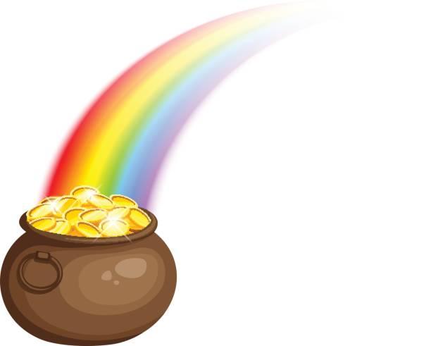 Kobold Topf mit Gold und Regenbogen. Vektor Eps-10. – Vektorgrafik