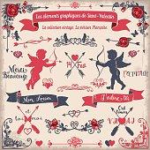 Les éléments graphiques de la Saint-Valentin. La collection vintage. La version Française.