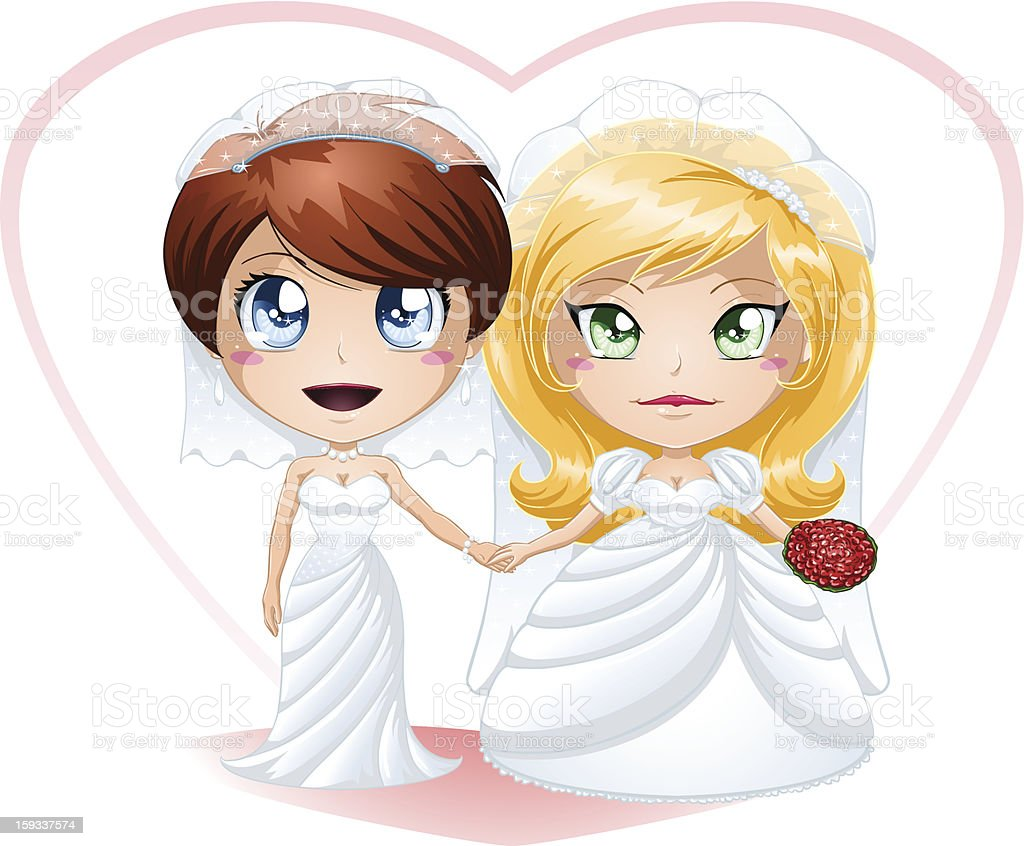 Anime Cute Lesbians lesbian brides in dresses getting married stock illustration