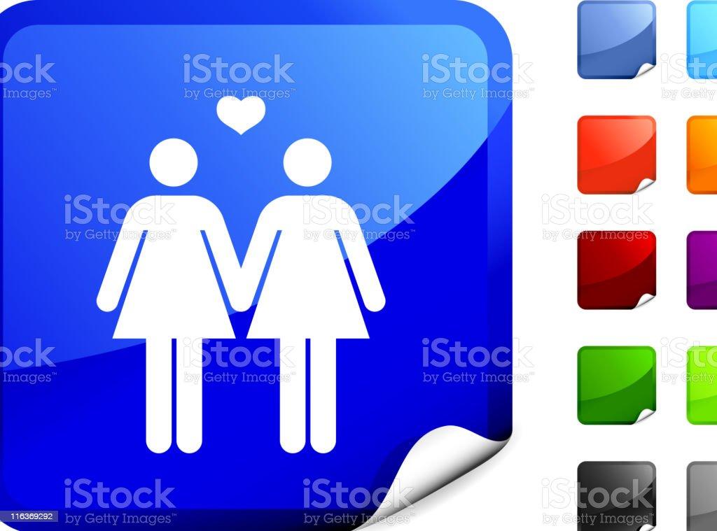 Pareja lesbiana arte vectorial sin royalties de internet - ilustración de arte vectorial