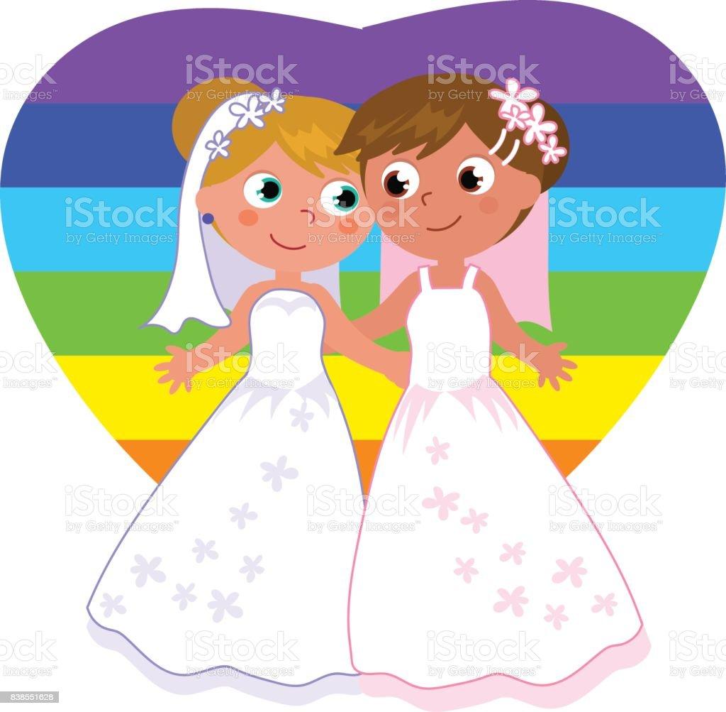 レズビアンのカップル結婚 ベクターアートイラスト