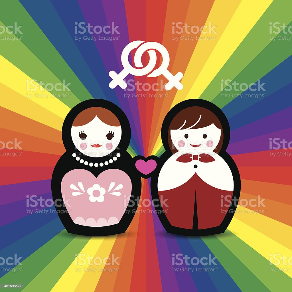 Lesbian Couple Married Doll royalty-free stock vector art